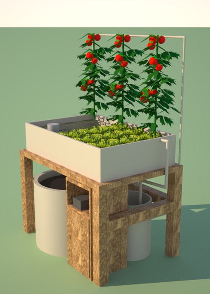 Rendering of a 1 square meter aquaponic system shanghai for Balcony aquaponics